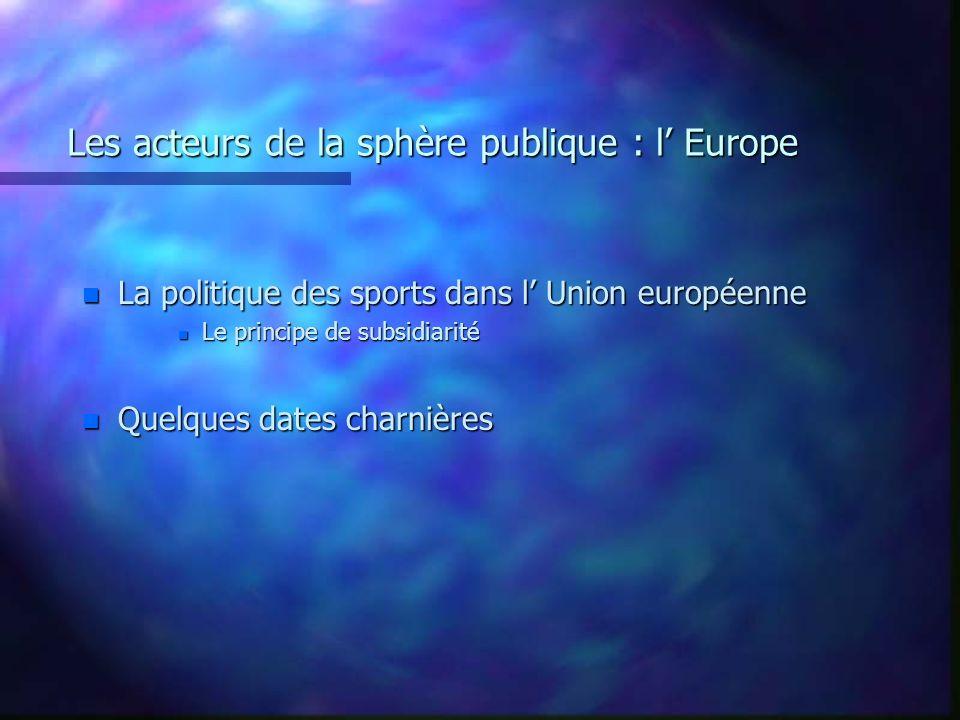 Les acteurs de la sphère publique : l Europe n La politique des sports dans l Union européenne n Le principe de subsidiarité n Quelques dates charnièr