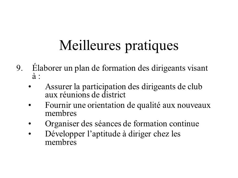 Meilleures pratiques 9.Élaborer un plan de formation des dirigeants visant à : Assurer la participation des dirigeants de club aux réunions de distric