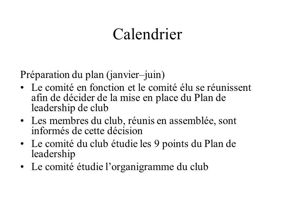 Calendrier Préparation du plan (janvier–juin) Le comité en fonction et le comité élu se réunissent afin de décider de la mise en place du Plan de lead