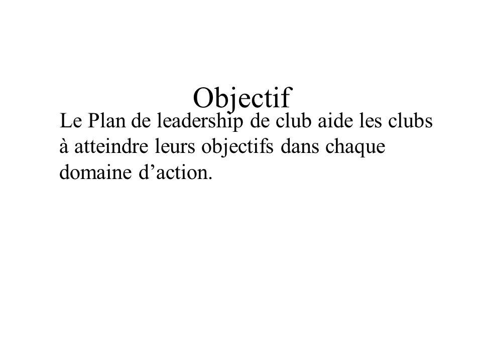 Objectif Le Plan de leadership de club aide les clubs à atteindre leurs objectifs dans chaque domaine daction.