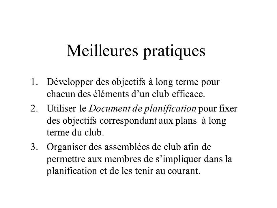 Meilleures pratiques 1.Développer des objectifs à long terme pour chacun des éléments dun club efficace. 2.Utiliser le Document de planification pour