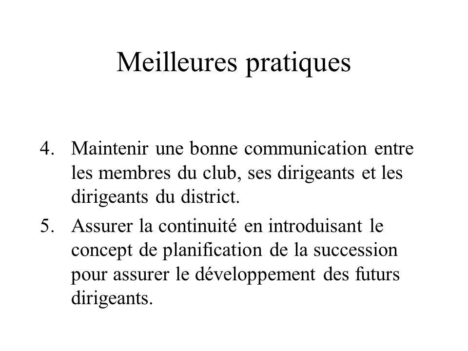 Meilleures pratiques 4.Maintenir une bonne communication entre les membres du club, ses dirigeants et les dirigeants du district. 5.Assurer la continu