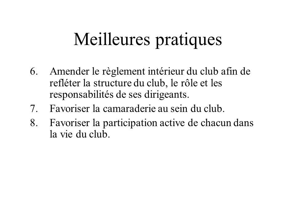 Meilleures pratiques 6.Amender le règlement intérieur du club afin de refléter la structure du club, le rôle et les responsabilités de ses dirigeants.