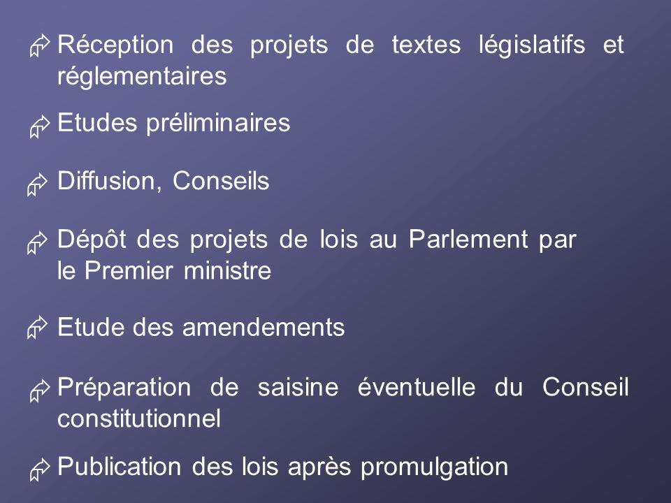 Préparation de saisine éventuelle du Conseil constitutionnel Réception des projets de textes législatifs et réglementaires Etudes préliminaires Diffus