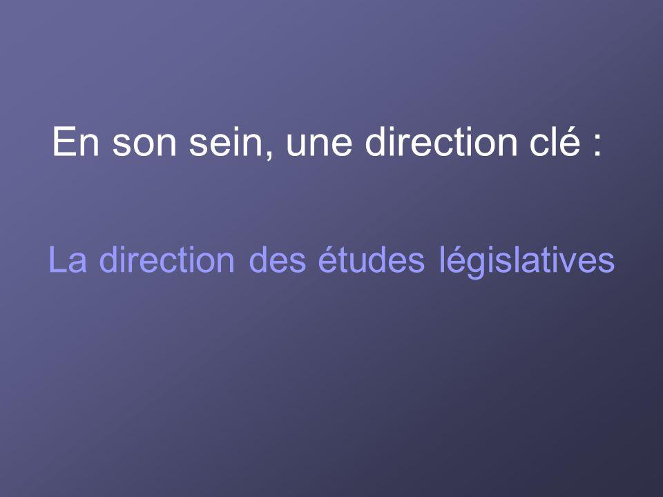 En son sein, une direction clé : La direction des études législatives