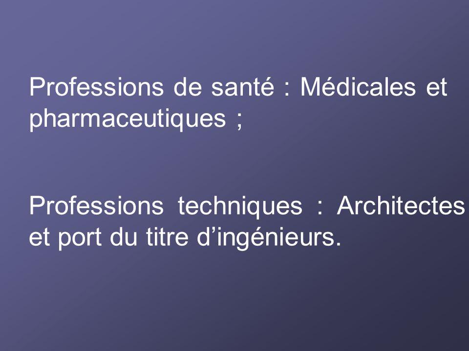 Professions de santé : Médicales et pharmaceutiques ; Professions techniques : Architectes et port du titre dingénieurs.