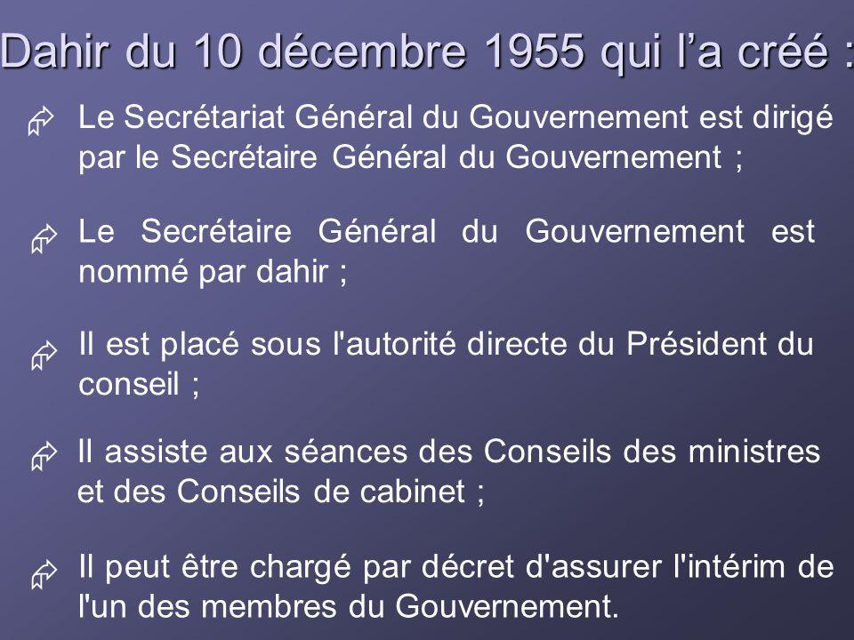 Dahir du 10 décembre 1955 qui la créé : Il peut être chargé par décret d'assurer l'intérim de l'un des membres du Gouvernement. Le Secrétariat Général