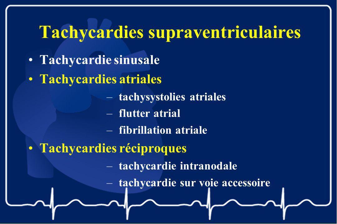 Tachycardies supraventriculaires Tachycardie sinusale Tachycardies atriales –tachysystolies atriales –flutter atrial –fibrillation atriale Tachycardie