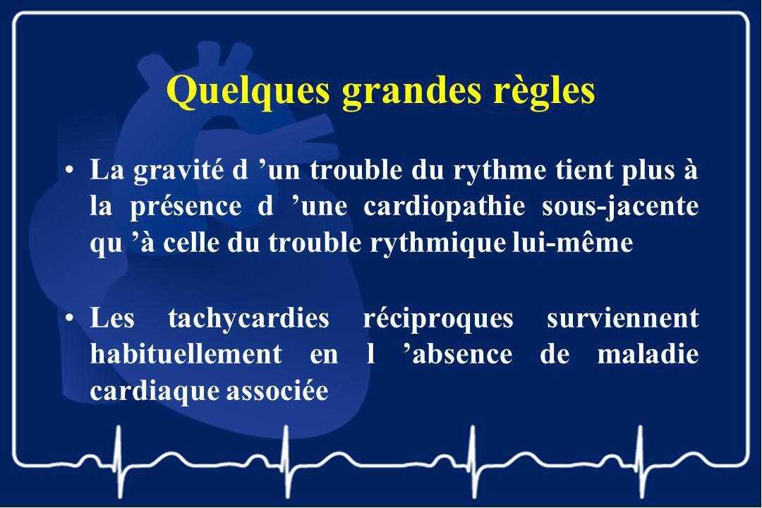 Quelques grandes règles La gravité d un trouble du rythme tient plus à la présence d une cardiopathie sous-jacente qu à celle du trouble rythmique lui
