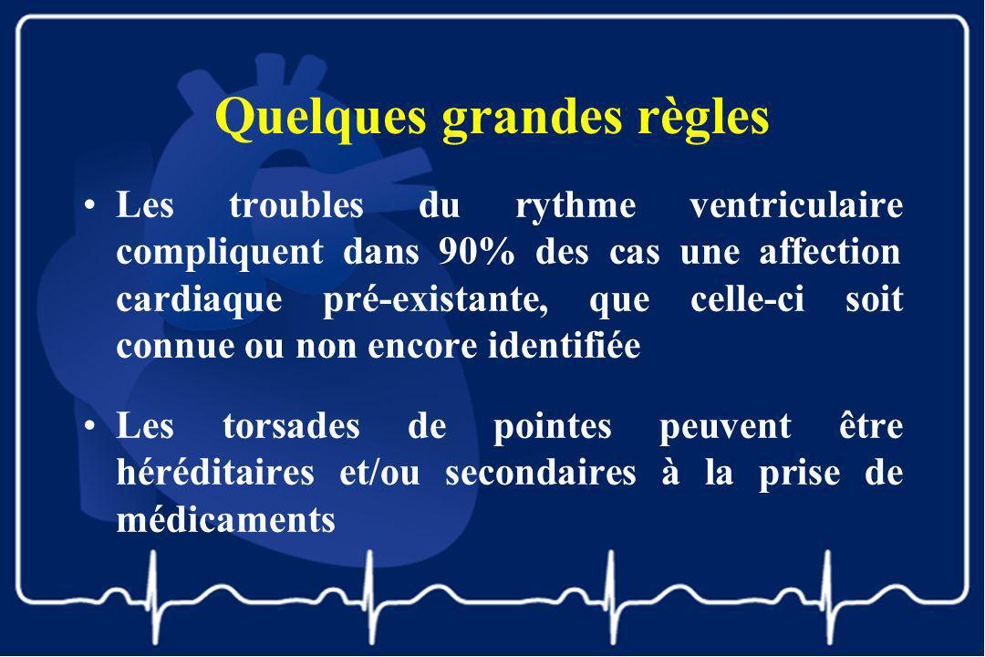 Quelques grandes règles Les troubles du rythme ventriculaire compliquent dans 90% des cas une affection cardiaque pré-existante, que celle-ci soit con