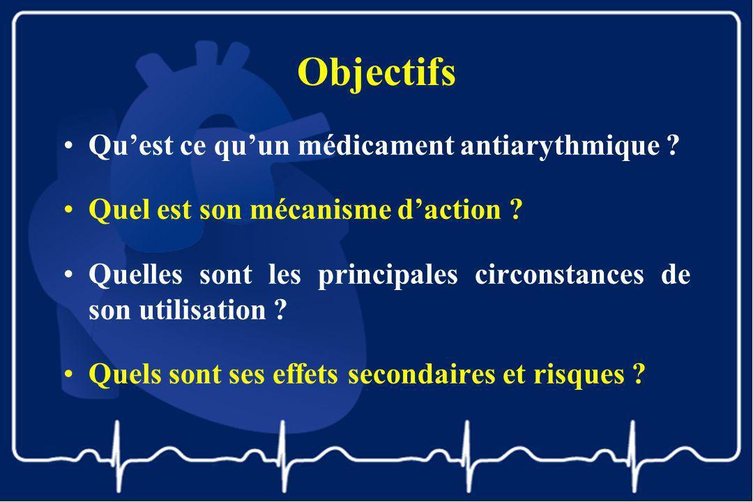 Objectifs Quest ce quun médicament antiarythmique ? Quel est son mécanisme daction ? Quelles sont les principales circonstances de son utilisation ? Q