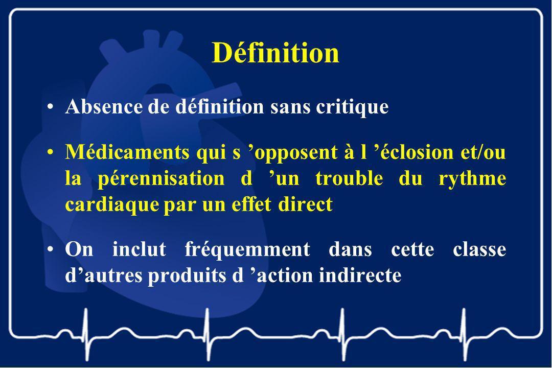 Définition Absence de définition sans critique Médicaments qui s opposent à l éclosion et/ou la pérennisation d un trouble du rythme cardiaque par un