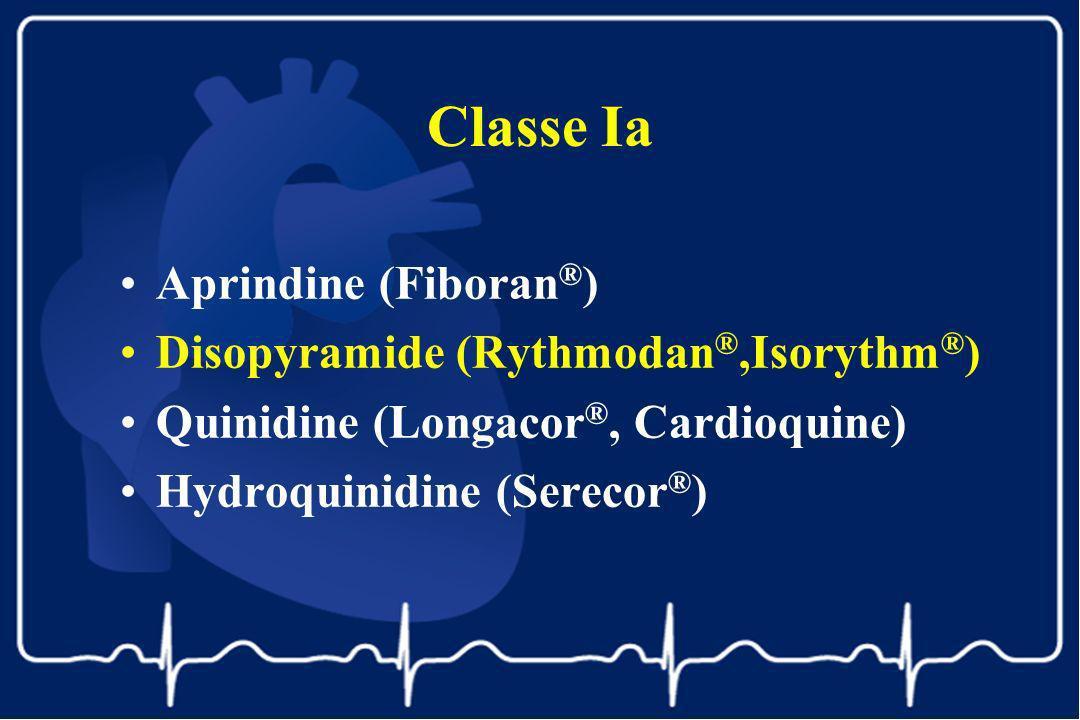 Classe Ia Aprindine (Fiboran ® ) Disopyramide (Rythmodan ®,Isorythm ® ) Quinidine (Longacor ®, Cardioquine) Hydroquinidine (Serecor ® )