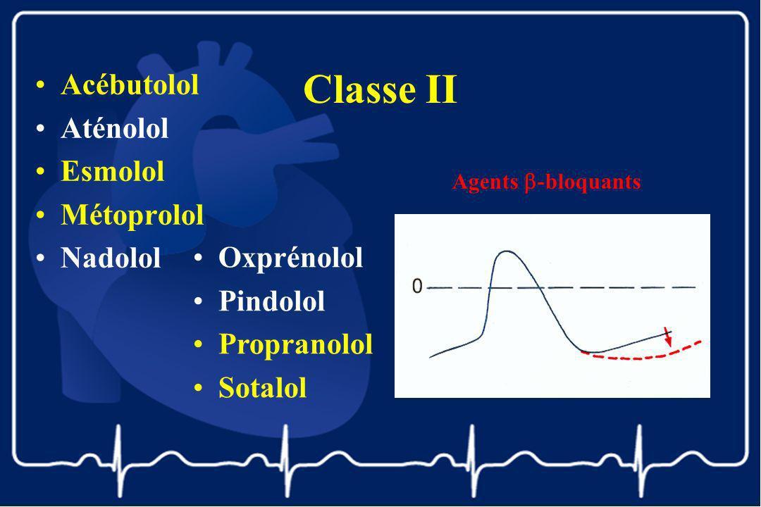 Classe II Acébutolol Aténolol Esmolol Métoprolol Nadolol Agents -bloquants Oxprénolol Pindolol Propranolol Sotalol