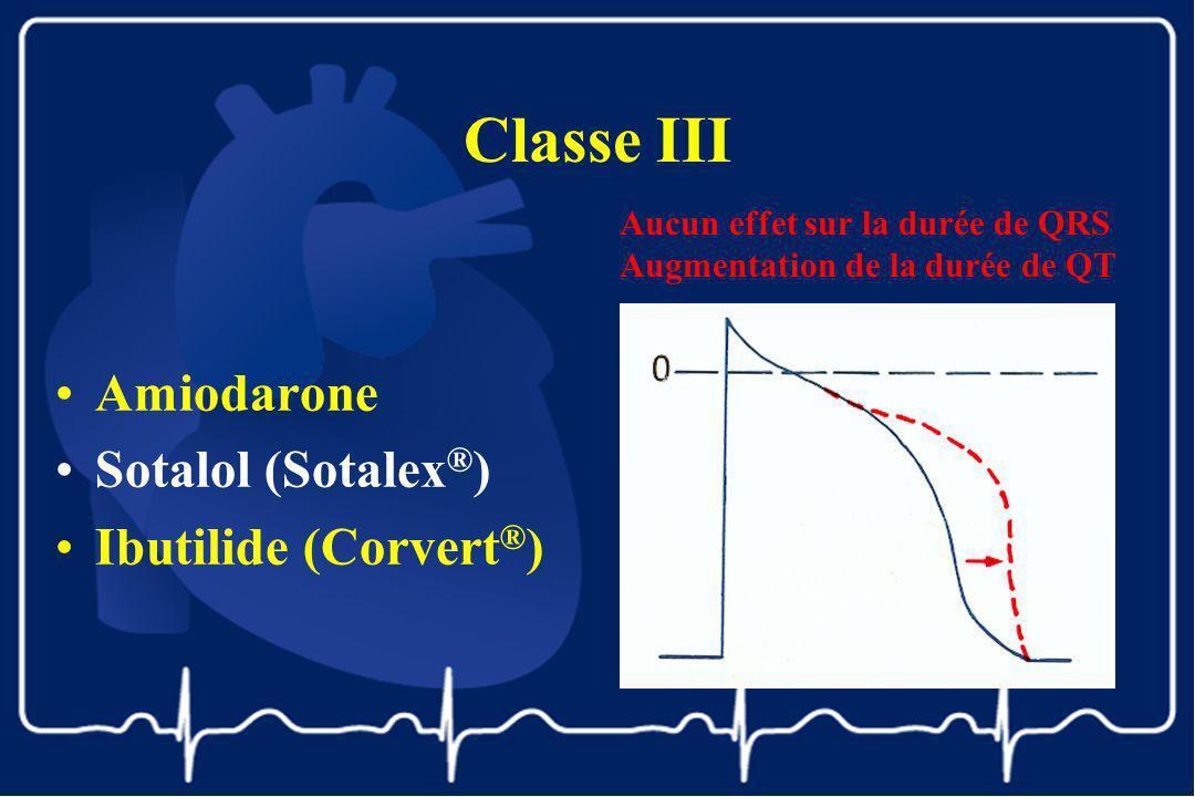 Classe III Amiodarone Sotalol (Sotalex ® ) Ibutilide (Corvert ® ) Aucun effet sur la durée de QRS Augmentation de la durée de QT