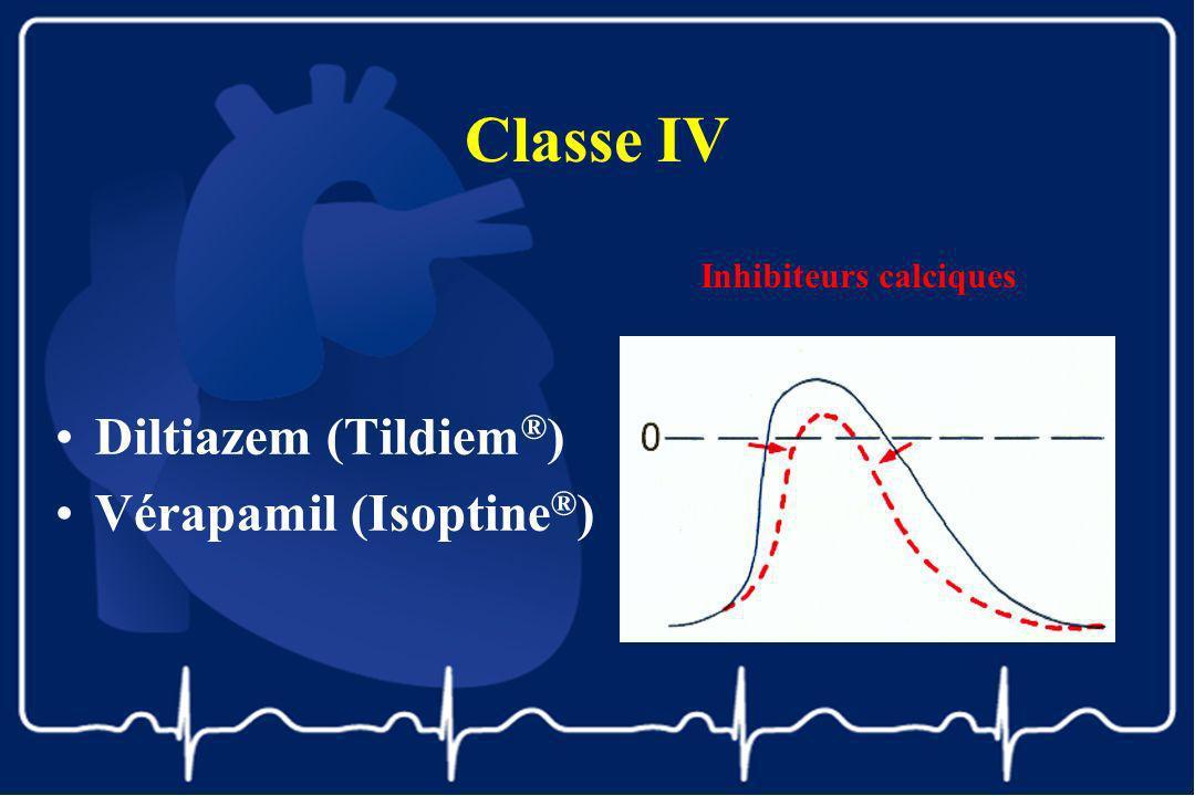 Classe IV Diltiazem (Tildiem ® ) Vérapamil (Isoptine ® ) Inhibiteurs calciques