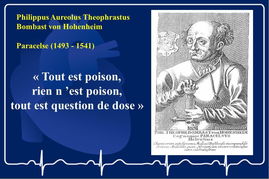 Philippus Aureolus Theophrastus Bombast von Hohenheim Paracelse (1493 - 1541) « Tout est poison, rien n est poison, tout est question de dose »