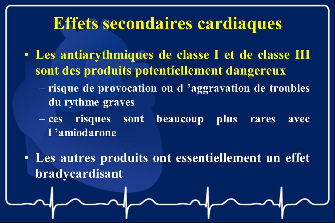 Effets secondaires cardiaques Les antiarythmiques de classe I et de classe III sont des produits potentiellement dangereux –risque de provocation ou d