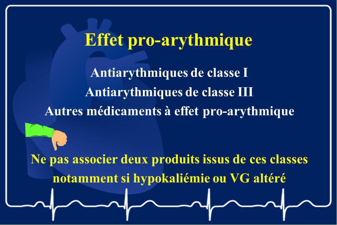 Effet pro-arythmique Antiarythmiques de classe I Antiarythmiques de classe III Autres médicaments à effet pro-arythmique Ne pas associer deux produits