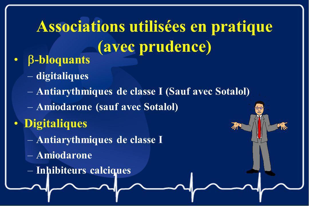 Associations utilisées en pratique (avec prudence) -bloquants –digitaliques –Antiarythmiques de classe I (Sauf avec Sotalol) –Amiodarone (sauf avec So