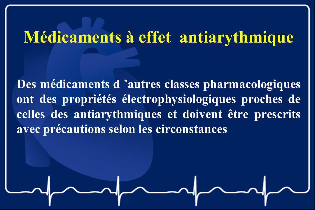 Médicaments à effet antiarythmique Des médicaments d autres classes pharmacologiques ont des propriétés électrophysiologiques proches de celles des an