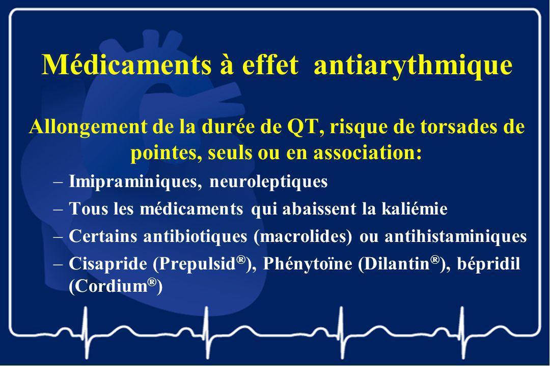 Médicaments à effet antiarythmique Allongement de la durée de QT, risque de torsades de pointes, seuls ou en association: –Imipraminiques, neuroleptiq