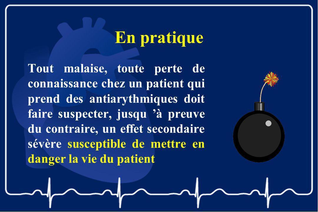 En pratique Tout malaise, toute perte de connaissance chez un patient qui prend des antiarythmiques doit faire suspecter, jusqu à preuve du contraire,