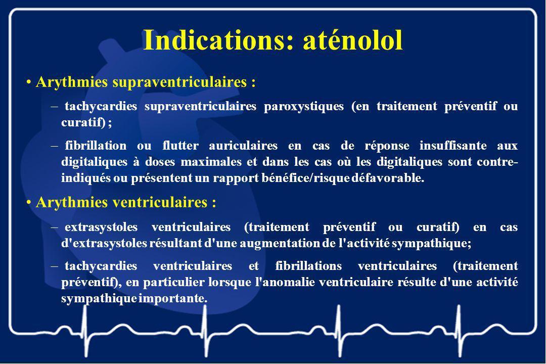 Indications: aténolol Arythmies supraventriculaires : – tachycardies supraventriculaires paroxystiques (en traitement préventif ou curatif) ; – fibril
