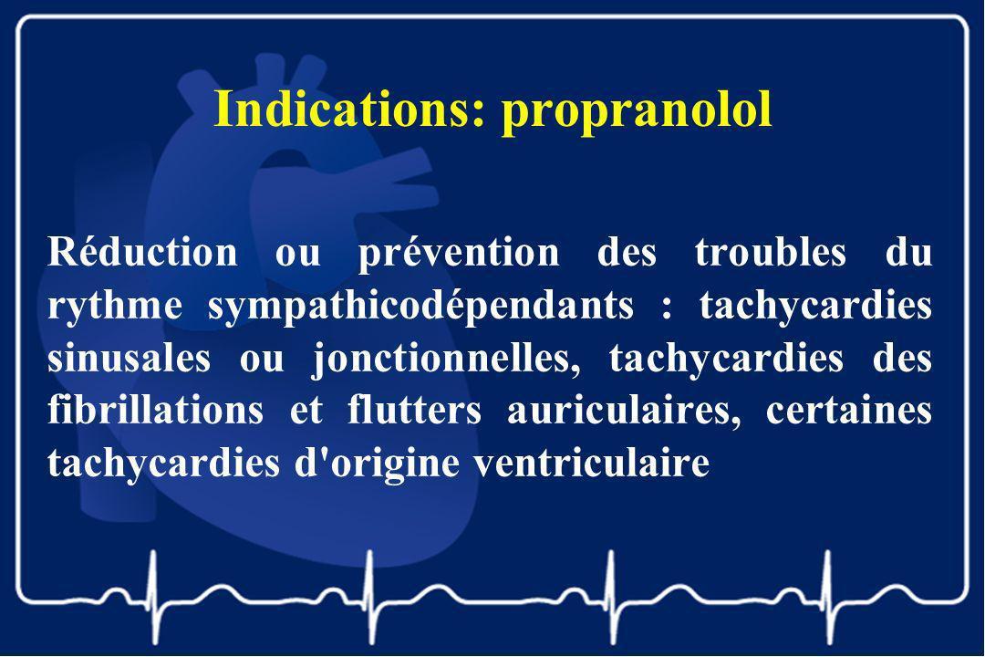Indications: propranolol Réduction ou prévention des troubles du rythme sympathicodépendants : tachycardies sinusales ou jonctionnelles, tachycardies