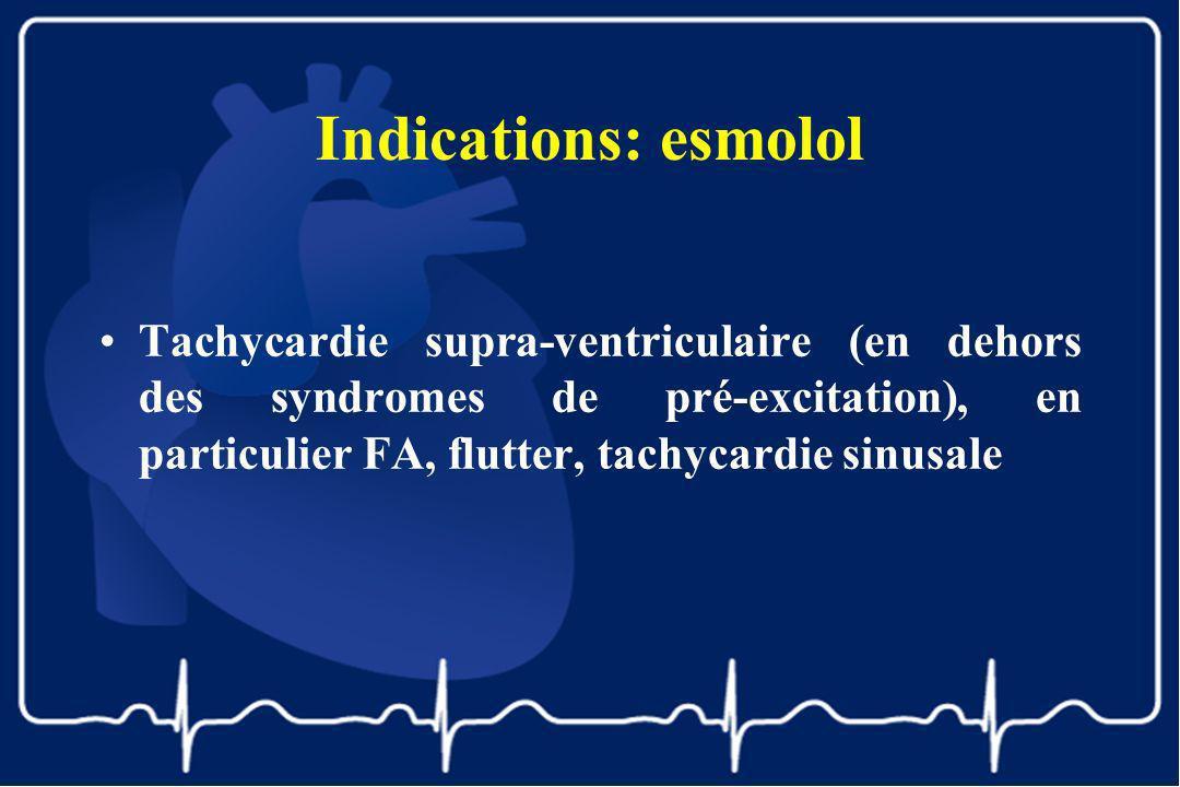 Indications: esmolol Tachycardie supra-ventriculaire (en dehors des syndromes de pré-excitation), en particulier FA, flutter, tachycardie sinusale