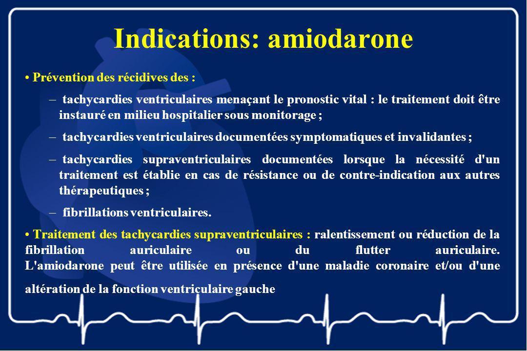 Indications: amiodarone Prévention des récidives des : – tachycardies ventriculaires menaçant le pronostic vital : le traitement doit être instauré en