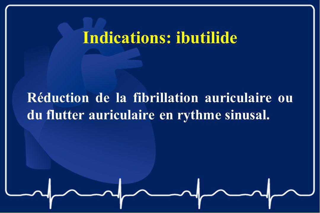 Indications: ibutilide Réduction de la fibrillation auriculaire ou du flutter auriculaire en rythme sinusal.