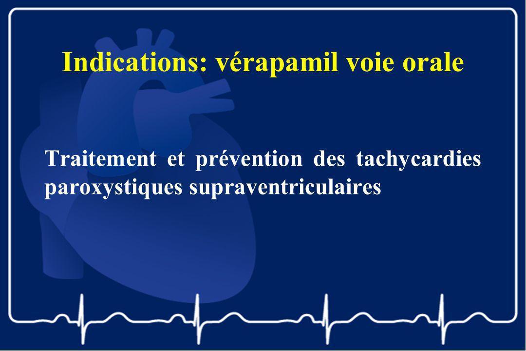 Indications: vérapamil voie orale Traitement et prévention des tachycardies paroxystiques supraventriculaires