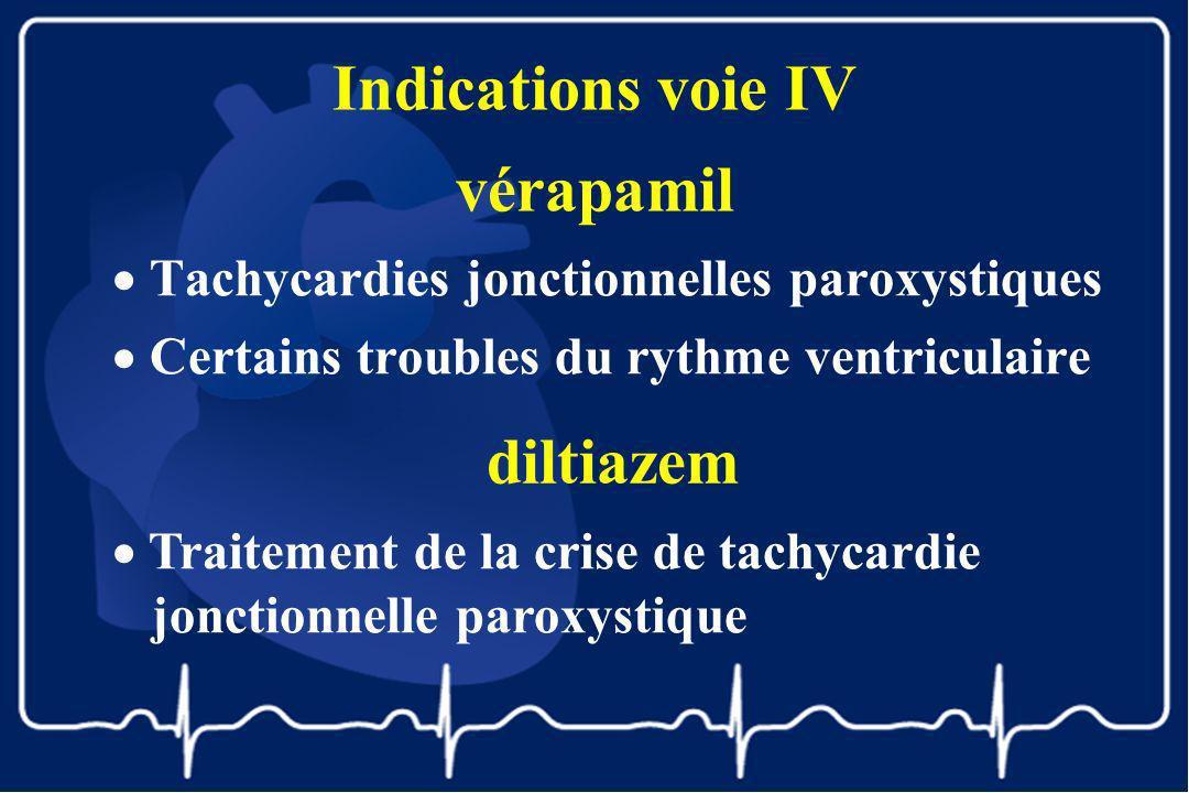 Indications voie IV vérapamil Tachycardies jonctionnelles paroxystiques Certains troubles du rythme ventriculaire diltiazem Traitement de la crise de