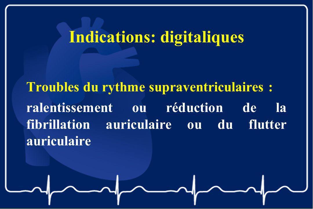 Indications: digitaliques Troubles du rythme supraventriculaires : ralentissement ou réduction de la fibrillation auriculaire ou du flutter auriculair