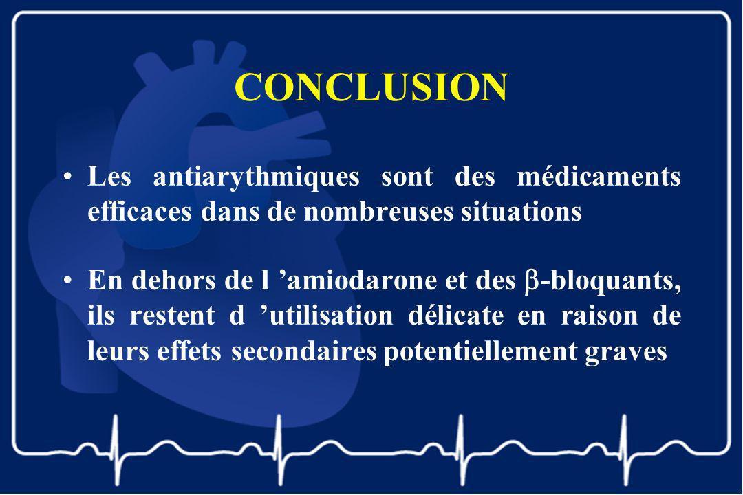 CONCLUSION Les antiarythmiques sont des médicaments efficaces dans de nombreuses situations En dehors de l amiodarone et des -bloquants, ils restent d
