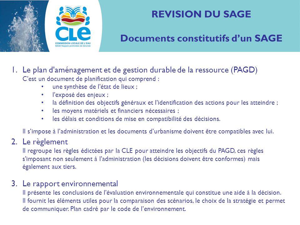 REVISION DU SAGE Documents constitutifs dun SAGE 1.Le plan d'aménagement et de gestion durable de la ressource (PAGD) C'est un document de planificati