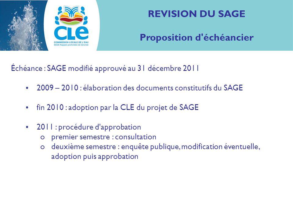 REVISION DU SAGE Proposition d'échéancier Échéance : SAGE modifié approuvé au 31 décembre 2011 2009 – 2010 : élaboration des documents constitutifs du