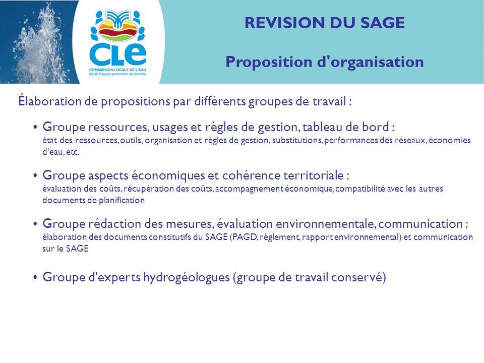 REVISION DU SAGE Proposition d'organisation Élaboration de propositions par différents groupes de travail : Groupe ressources, usages et règles de ges