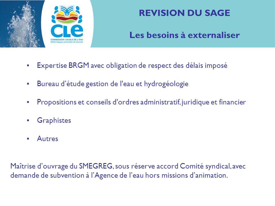 REVISION DU SAGE Les besoins à externaliser Expertise BRGM avec obligation de respect des délais imposé Bureau détude gestion de l'eau et hydrogéologi