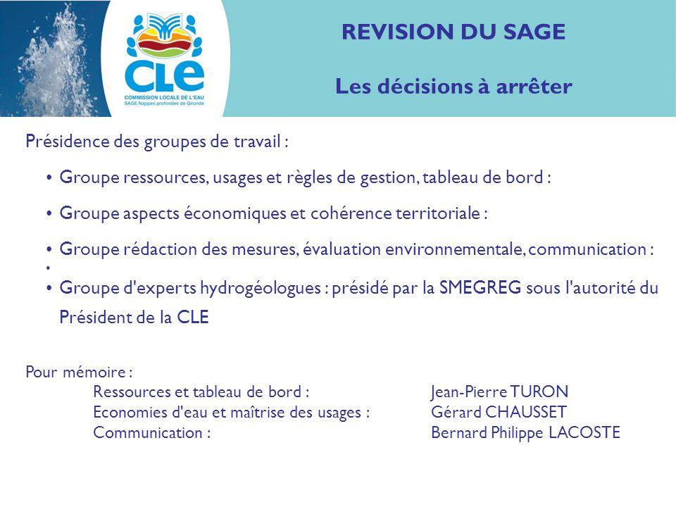 REVISION DU SAGE Les décisions à arrêter Présidence des groupes de travail : Groupe ressources, usages et règles de gestion, tableau de bord : Groupe