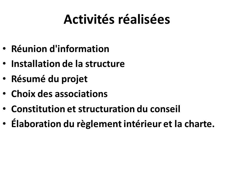 Activités réalisées Réunion d information Installation de la structure Résumé du projet Choix des associations Constitution et structuration du conseil Élaboration du règlement intérieur et la charte.