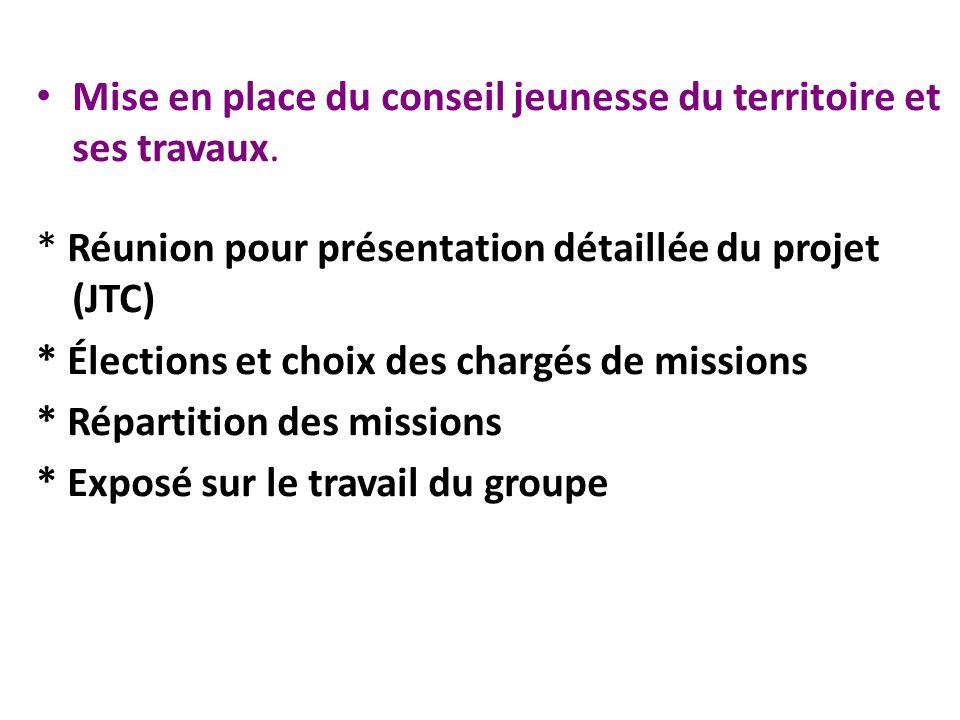 Mise en place du conseil jeunesse du territoire et ses travaux. * Réunion pour présentation détaillée du projet (JTC) * Élections et choix des chargés