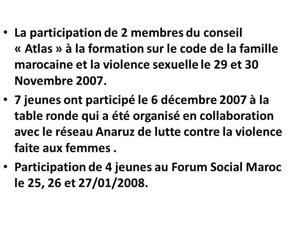 La participation de 2 membres du conseil « Atlas » à la formation sur le code de la famille marocaine et la violence sexuelle le 29 et 30 Novembre 2007.
