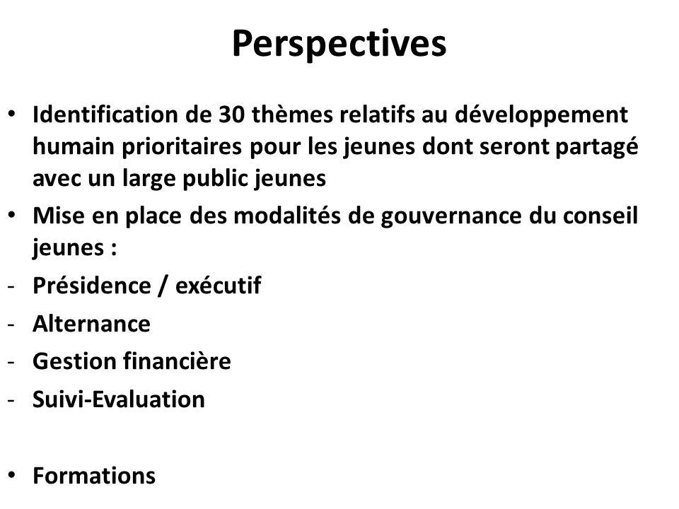 Perspectives Identification de 30 thèmes relatifs au développement humain prioritaires pour les jeunes dont seront partagé avec un large public jeunes Mise en place des modalités de gouvernance du conseil jeunes : -Présidence / exécutif -Alternance -Gestion financière -Suivi-Evaluation Formations