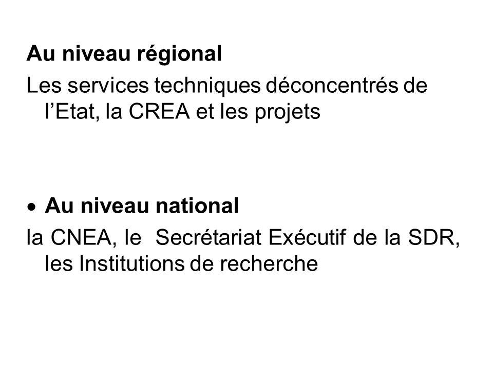 Au niveau régional Les services techniques déconcentrés de lEtat, la CREA et les projets Au niveau national la CNEA, le Secrétariat Exécutif de la SDR, les Institutions de recherche