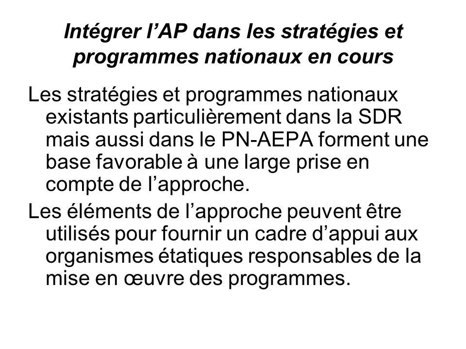 Intégrer lAP dans les stratégies et programmes nationaux en cours Les stratégies et programmes nationaux existants particulièrement dans la SDR mais aussi dans le PN-AEPA forment une base favorable à une large prise en compte de lapproche.