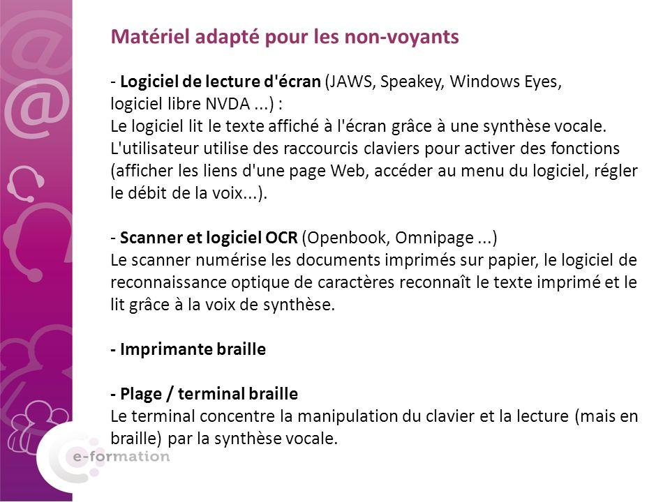- Logiciel de lecture d'écran (JAWS, Speakey, Windows Eyes, logiciel libre NVDA...) : Le logiciel lit le texte affiché à l'écran grâce à une synthèse
