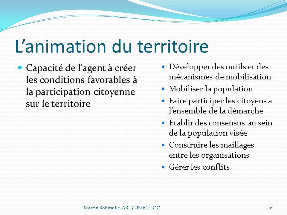 Lanimation du territoire Capacité de lagent à créer les conditions favorables à la participation citoyenne sur le territoire Développer des outils et