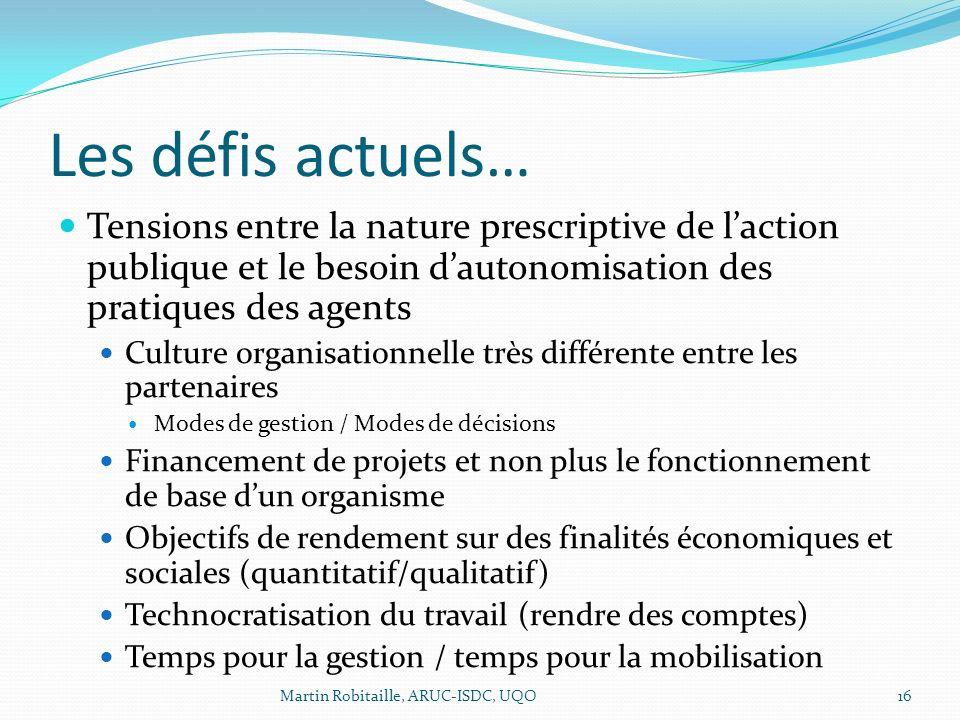 Les défis actuels… Tensions entre la nature prescriptive de laction publique et le besoin dautonomisation des pratiques des agents Culture organisatio